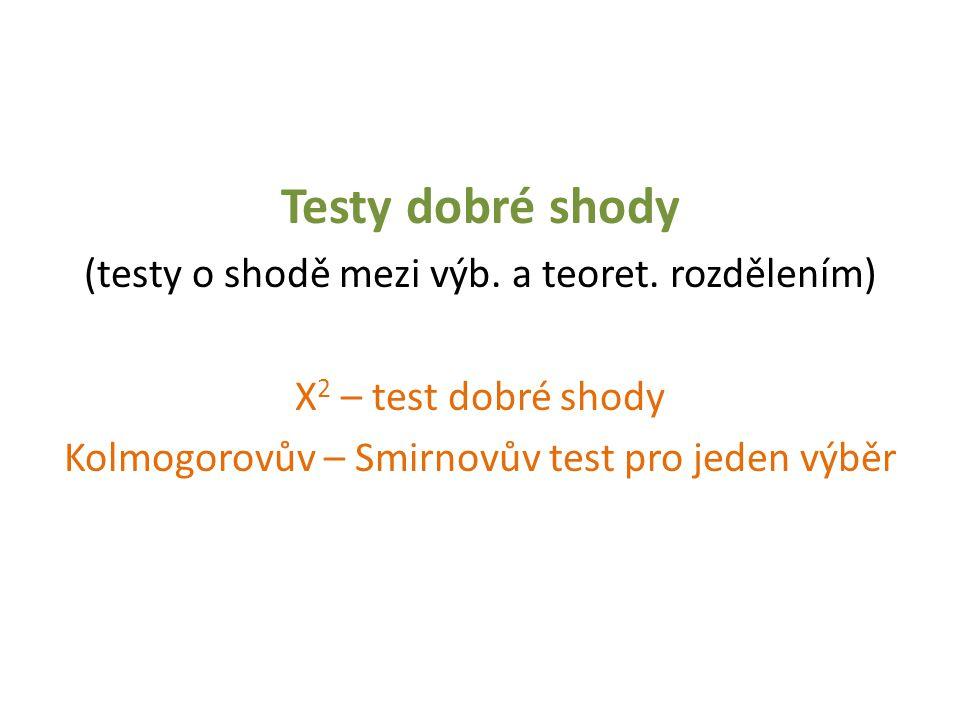 Testy dobré shody (testy o shodě mezi výb. a teoret. rozdělením) Χ 2 – test dobré shody Kolmogorovův – Smirnovův test pro jeden výběr