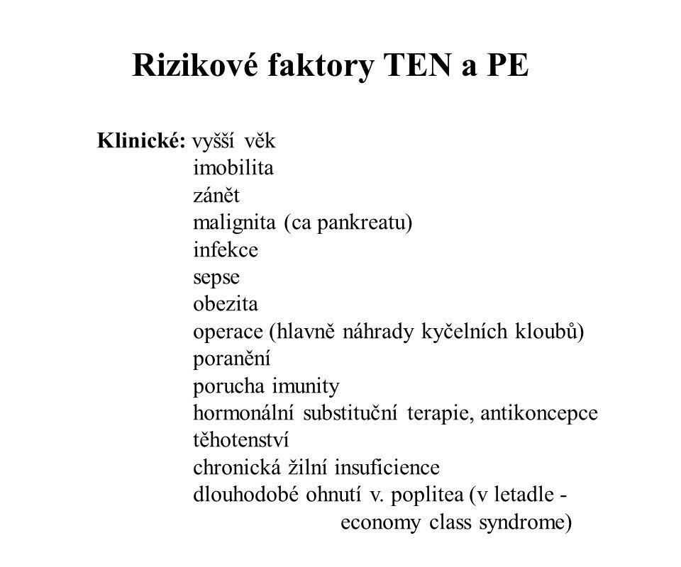 Rizikové faktory TEN a PE Klinické: vyšší věk imobilita zánět malignita (ca pankreatu) infekce sepse obezita operace (hlavně náhrady kyčelních kloubů)