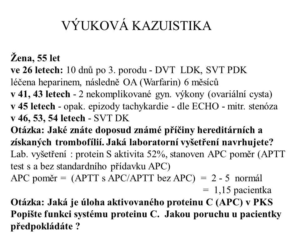 VÝUKOVÁ KAZUISTIKA Žena, 55 let ve 26 letech: 10 dnů po 3. porodu - DVT LDK, SVT PDK léčena heparinem, následně OA (Warfarin) 6 měsíců v 41, 43 letech