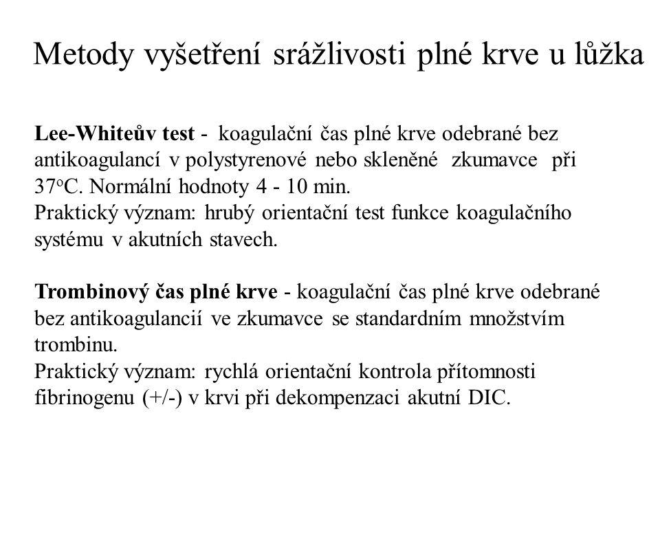 Pravděpodobné výsledky laboratorních testů při různých poruchách hemostázy (I)