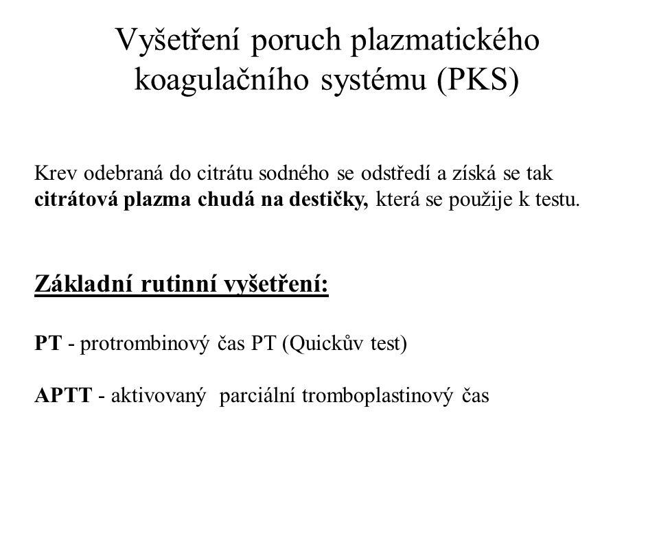 Vyšetření poruch plazmatického koagulačního systému (PKS) Krev odebraná do citrátu sodného se odstředí a získá se tak citrátová plazma chudá na destič