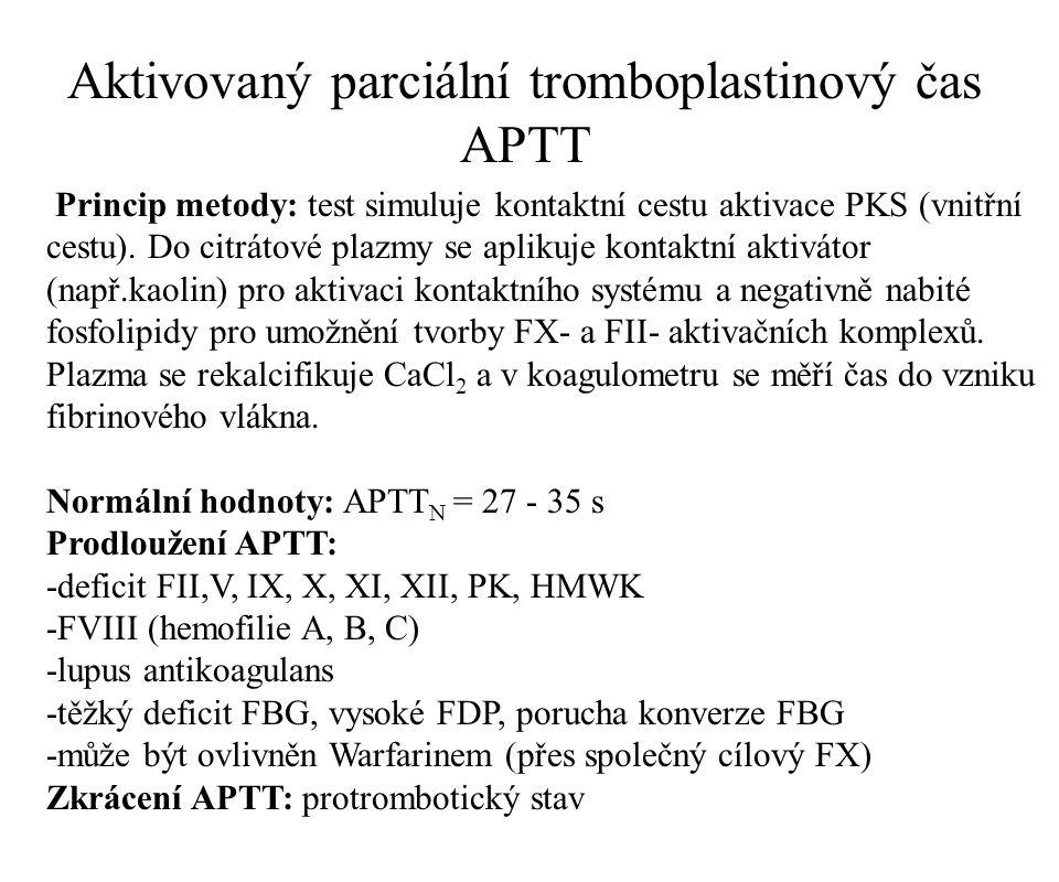 Praktický význam testu: -screeningový test -diagnostika deficitu faktorů vnitřního systému -diagnostika lupus antikoagulans -řízení heparinové terapie Vyjadřování výsledků APTT: -APTT pacienta/APTT kontroly (normálu) -při heparinové terapii terapeutické rozmezí APTT: 1,5 - 2,5-krát normy