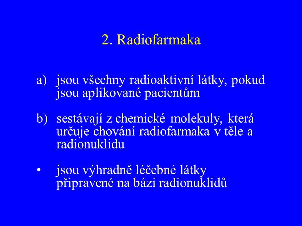 2. Radiofarmaka a)jsou všechny radioaktivní látky, pokud jsou aplikované pacientům b)sestávají z chemické molekuly, která určuje chování radiofarmaka