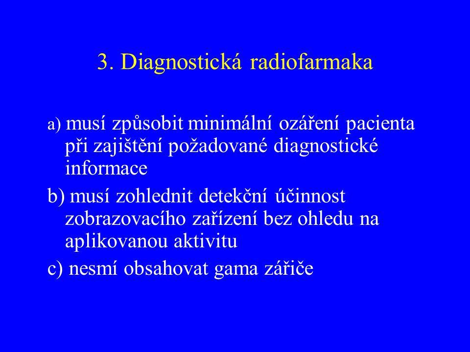 3. Diagnostická radiofarmaka a) musí způsobit minimální ozáření pacienta při zajištění požadované diagnostické informace b) musí zohlednit detekční úč