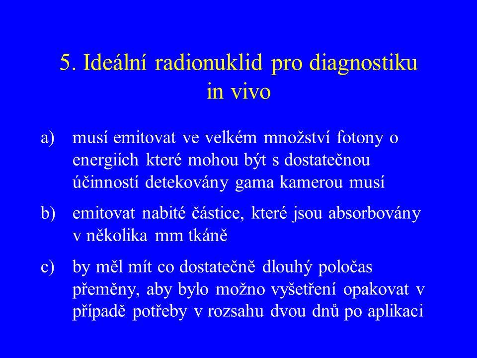 5. Ideální radionuklid pro diagnostiku in vivo a)musí emitovat ve velkém množství fotony o energiích které mohou být s dostatečnou účinností detekován