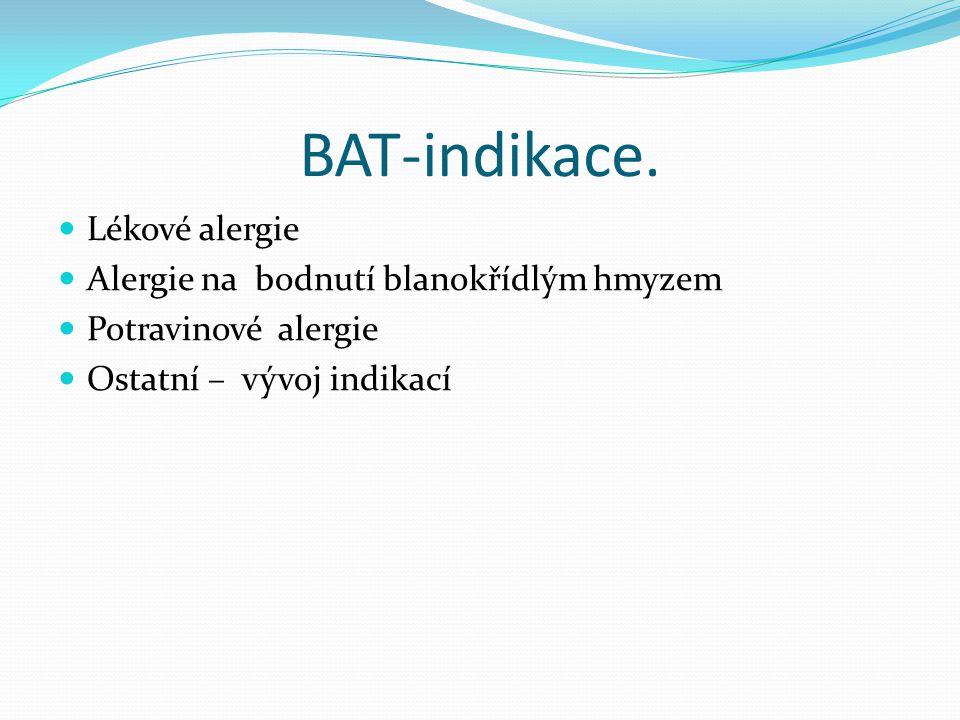 BAT-indikace. Lékové alergie Alergie na bodnutí blanokřídlým hmyzem Potravinové alergie Ostatní – vývoj indikací