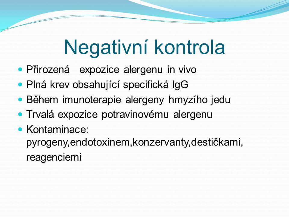 Negativní kontrola Přirozená expozice alergenu in vivo Plná krev obsahující specifická IgG Během imunoterapie alergeny hmyzího jedu Trvalá expozice po