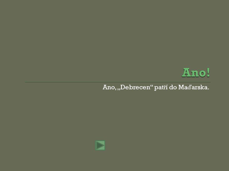 "Ne, ""Debrecen pat ř í do Ma ď arska."