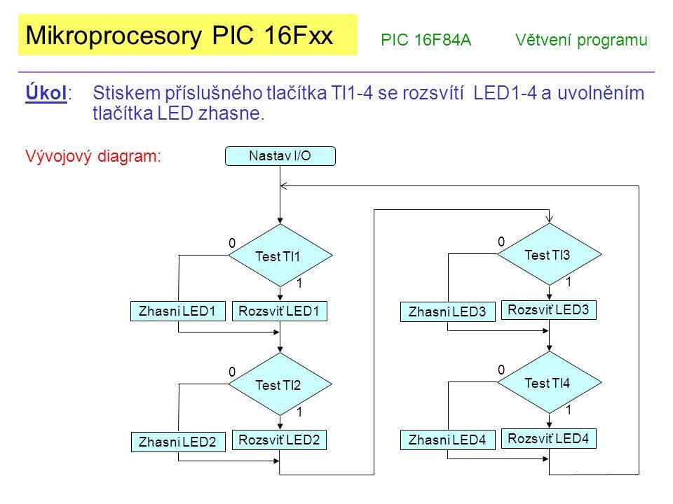 Mikroprocesory PIC 16Fxx PIC 16F84AVětvení programu Úkol: Stiskem příslušného tlačítka Tl1-4 se rozsvítí LED1-4 a uvolněním tlačítka LED zhasne.