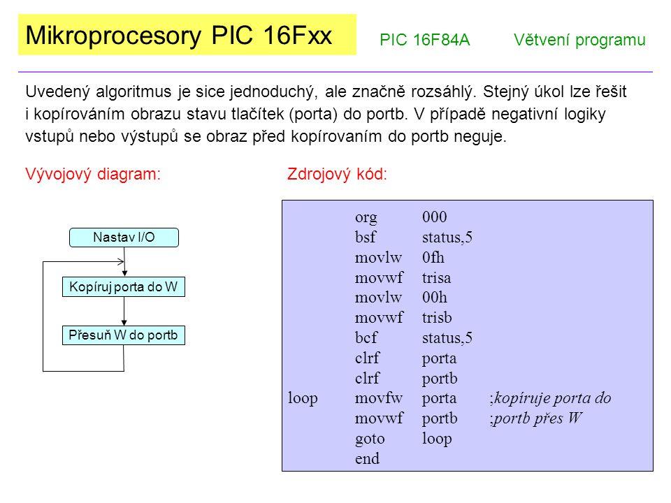 Mikroprocesory PIC 16Fxx PIC 16F84AVětvení programu Uvedený algoritmus je sice jednoduchý, ale značně rozsáhlý.