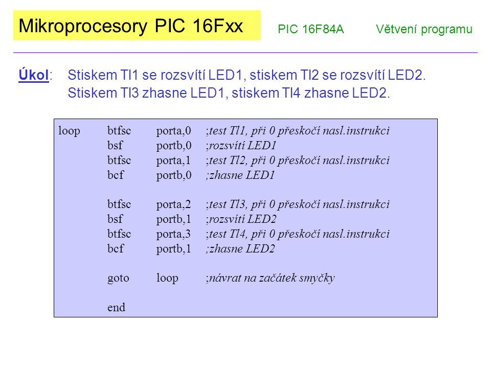 Mikroprocesory PIC 16Fxx PIC 16F84AVětvení programu loopbtfscporta,0;test Tl1, při 0 přeskočí nasl.instrukci bsfportb,0;rozsvítí LED1 btfscporta,1;tes