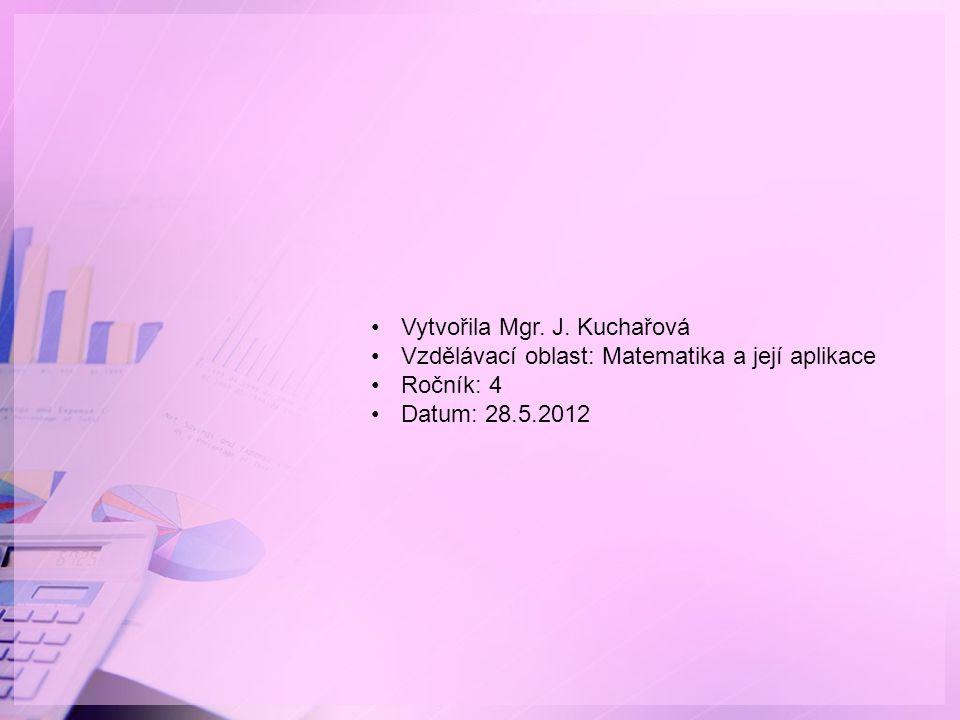 Vytvořila Mgr. J. Kuchařová Vzdělávací oblast: Matematika a její aplikace Ročník: 4 Datum: 28.5.2012