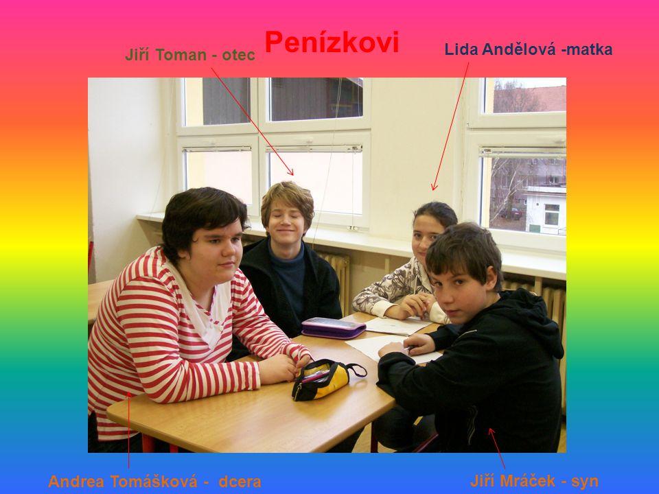 Penízkovi Lida Andělová -matka Jiří Toman - otec Jiří Mráček - syn Andrea Tomášková - dcera