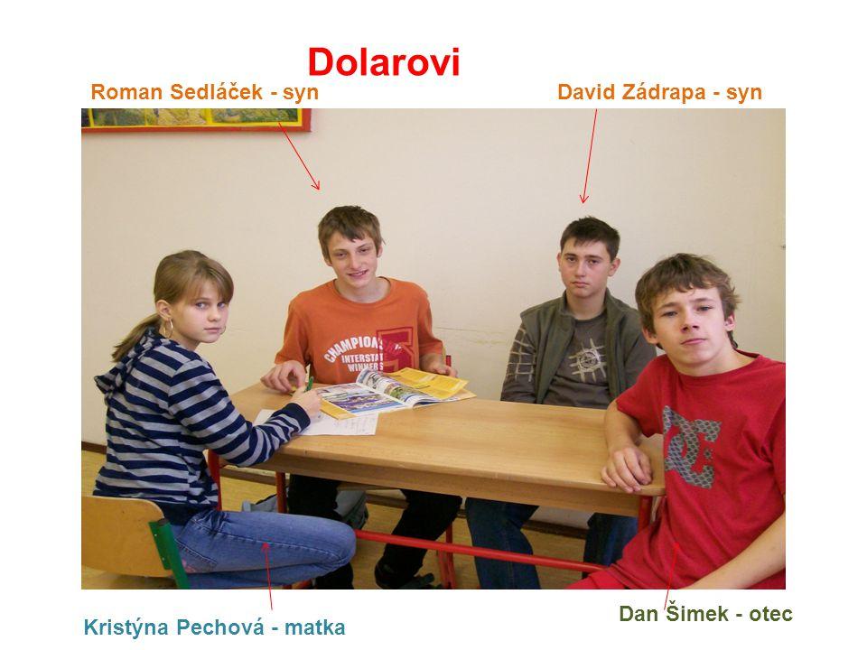 Dolarovi Dan Šimek - otec Roman Sedláček - syn Kristýna Pechová - matka David Zádrapa - syn