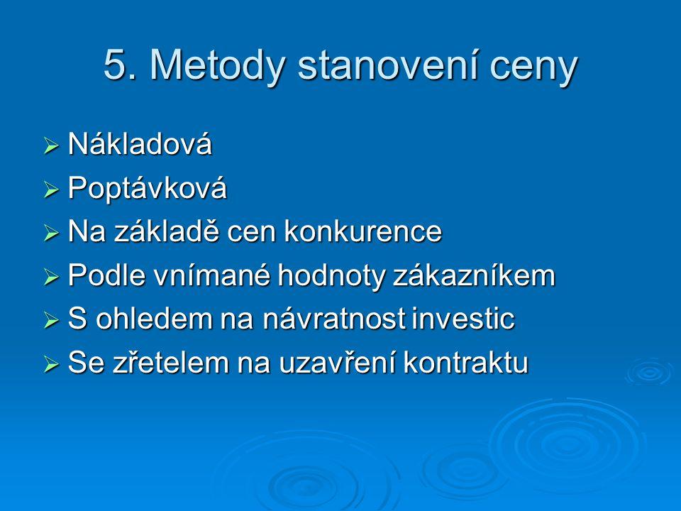 6.Konečná strategie stanovení ceny  Sladění s ostatními mkg.