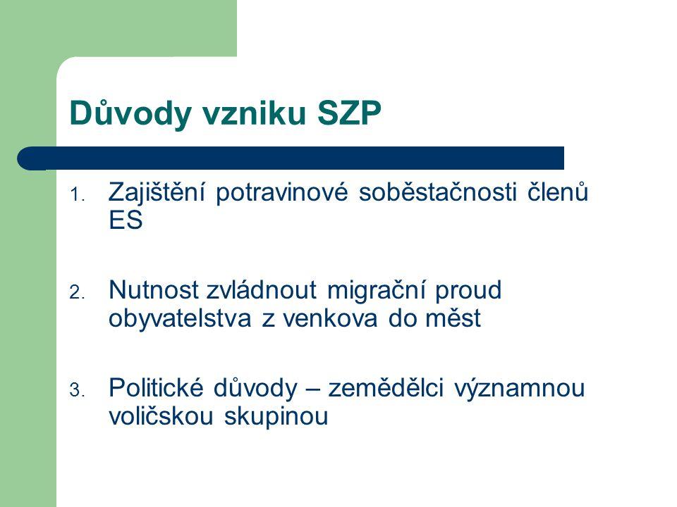 Důvody vzniku SZP 1. Zajištění potravinové soběstačnosti členů ES 2. Nutnost zvládnout migrační proud obyvatelstva z venkova do měst 3. Politické důvo