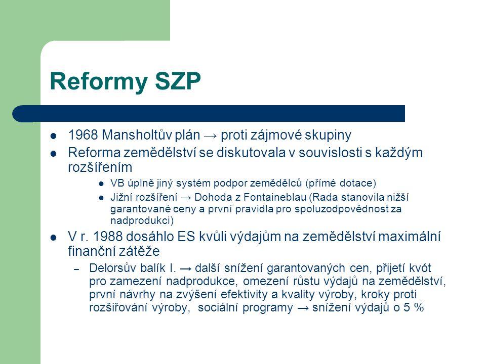 Reformy SZP 1968 Mansholtův plán → proti zájmové skupiny Reforma zemědělství se diskutovala v souvislosti s každým rozšířením VB úplně jiný systém pod