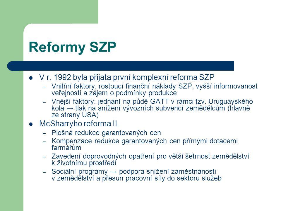 Reformy SZP V r. 1992 byla přijata první komplexní reforma SZP – Vnitřní faktory: rostoucí finanční náklady SZP, vyšší informovanost veřejnosti a záje