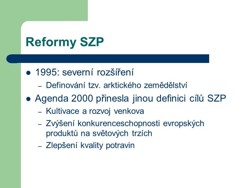 Reformy SZP 1995: severní rozšíření – Definování tzv. arktického zemědělství Agenda 2000 přinesla jinou definici cílů SZP – Kultivace a rozvoj venkova