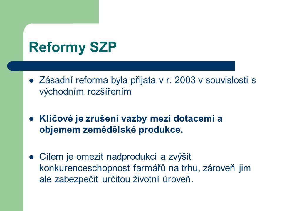 Reformy SZP Zásadní reforma byla přijata v r. 2003 v souvislosti s východním rozšířením Klíčové je zrušení vazby mezi dotacemi a objemem zemědělské pr