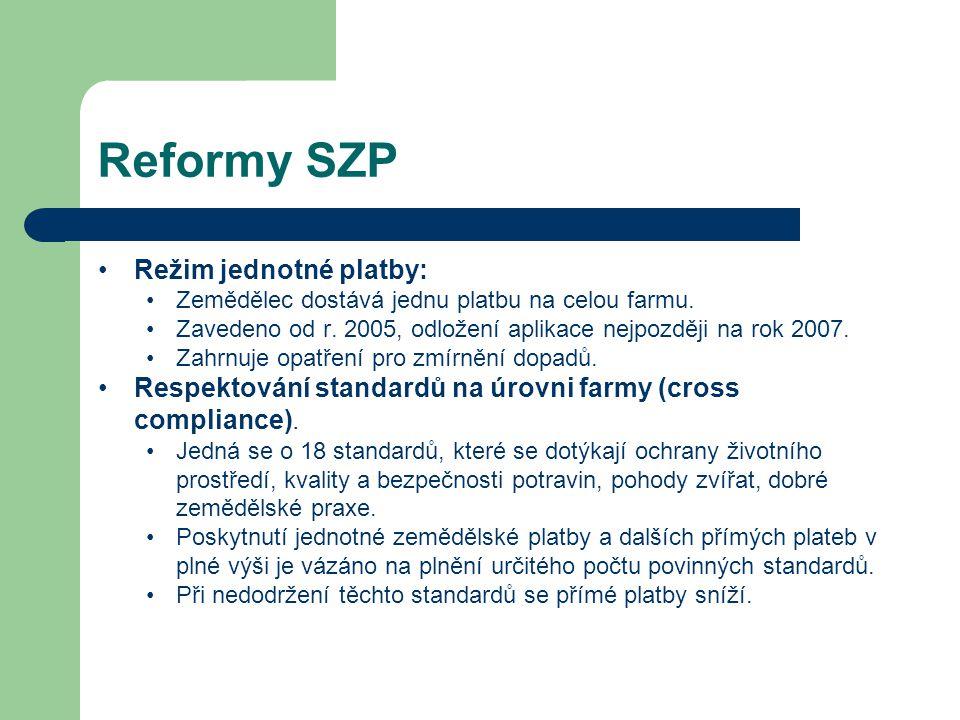 Reformy SZP Režim jednotné platby: Zemědělec dostává jednu platbu na celou farmu. Zavedeno od r. 2005, odložení aplikace nejpozději na rok 2007. Zahrn