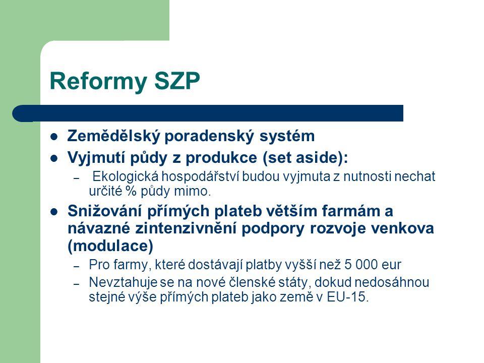 Reformy SZP Zemědělský poradenský systém Vyjmutí půdy z produkce (set aside): – Ekologická hospodářství budou vyjmuta z nutnosti nechat určité % půdy