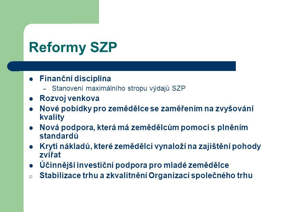Reformy SZP Finanční disciplína – Stanovení maximálního stropu výdajů SZP Rozvoj venkova Nové pobídky pro zemědělce se zaměřením na zvyšování kvality