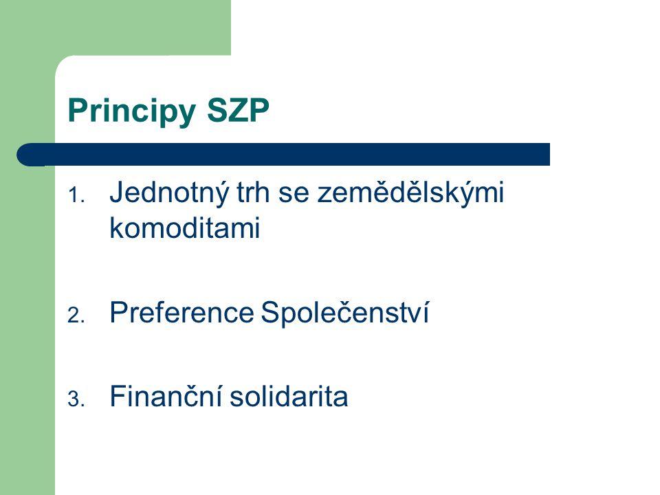 Principy SZP 1. Jednotný trh se zemědělskými komoditami 2. Preference Společenství 3. Finanční solidarita