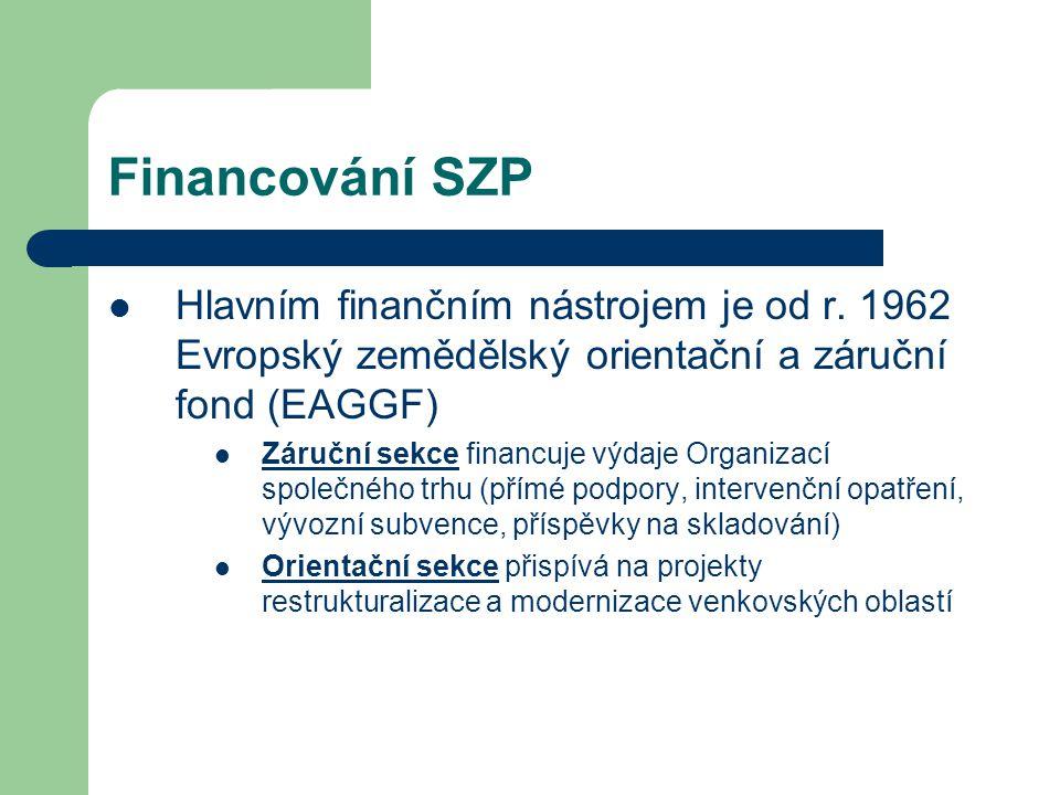 Financování SZP Hlavním finančním nástrojem je od r. 1962 Evropský zemědělský orientační a záruční fond (EAGGF) Záruční sekce financuje výdaje Organiz