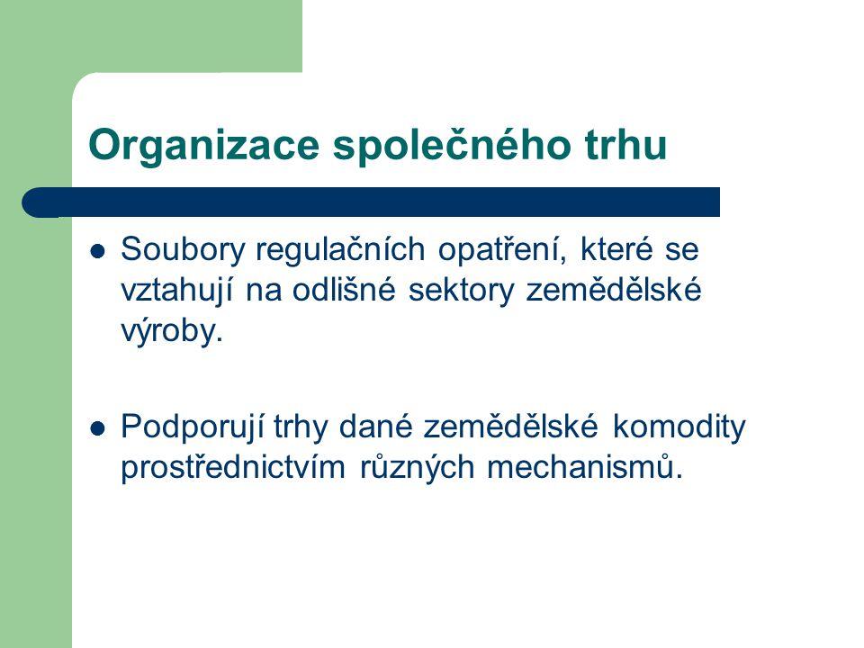 Organizace společného trhu Soubory regulačních opatření, které se vztahují na odlišné sektory zemědělské výroby. Podporují trhy dané zemědělské komodi