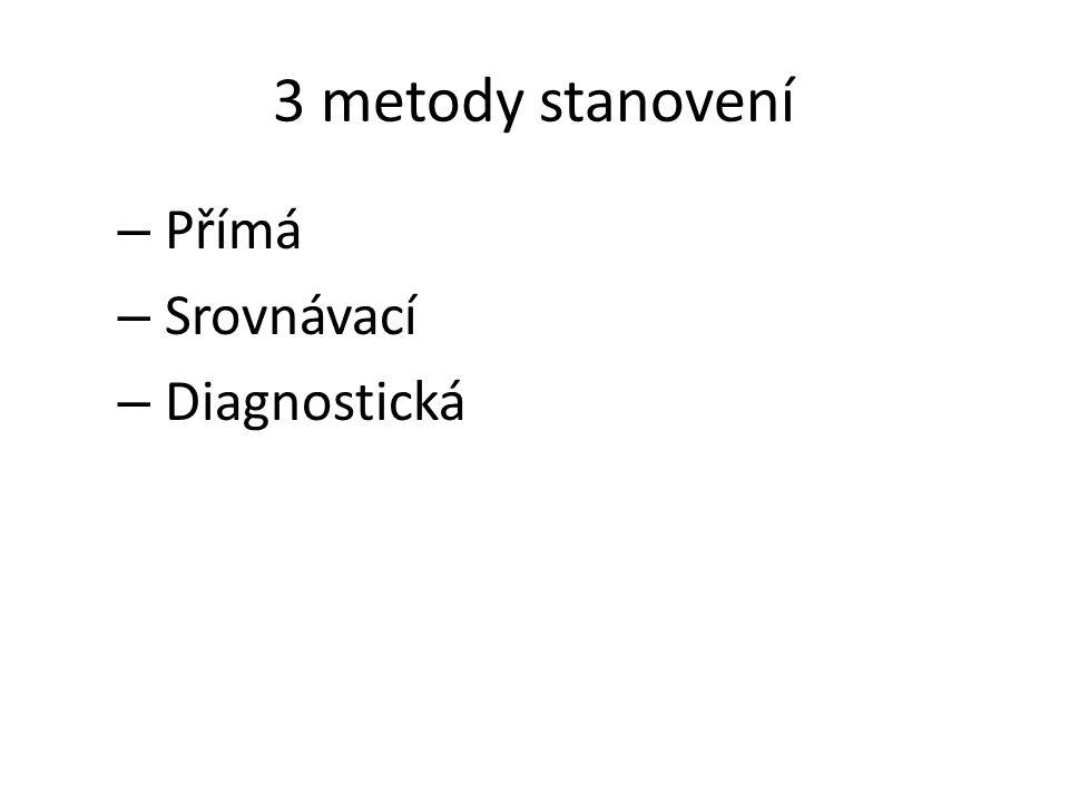3 metody stanovení – Přímá – Srovnávací – Diagnostická