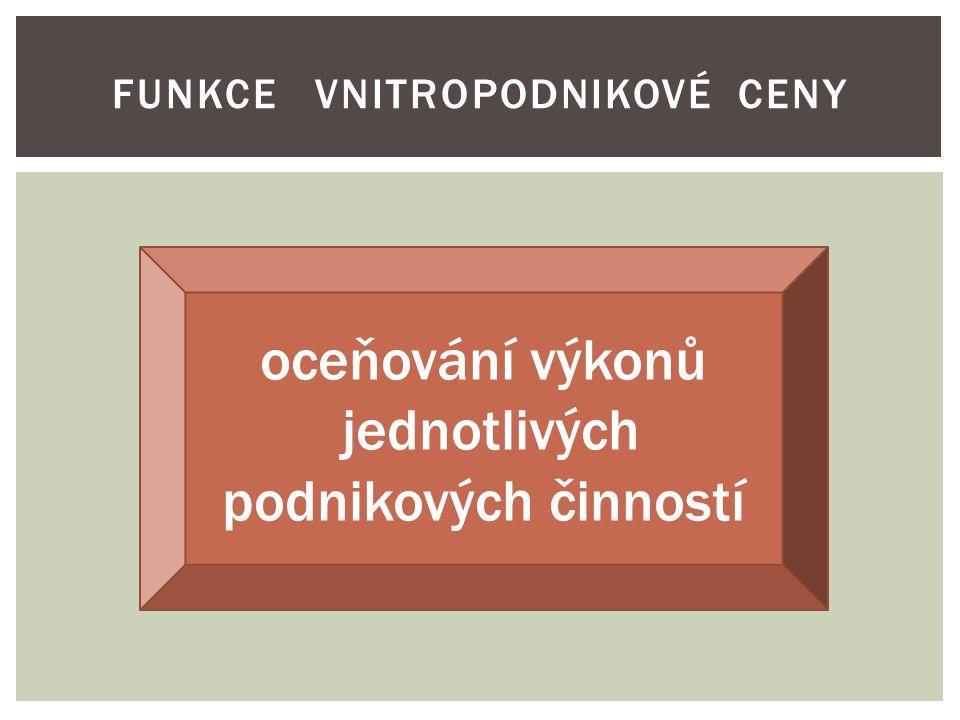 FUNKCE VNITROPODNIKOVÉ CENY oceňování výkonů jednotlivých podnikových činností