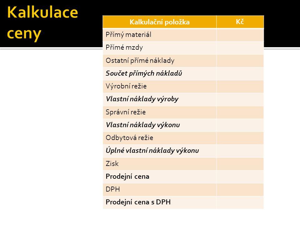 Kalkulační položka Kč Přímý materiál Přímé mzdy Ostatní přímé náklady Součet přímých nákladů Výrobní režie Vlastní náklady výroby Správní režie Vlastní náklady výkonu Odbytová režie Úplné vlastní náklady výkonu Zisk Prodejní cena DPH Prodejní cena s DPH