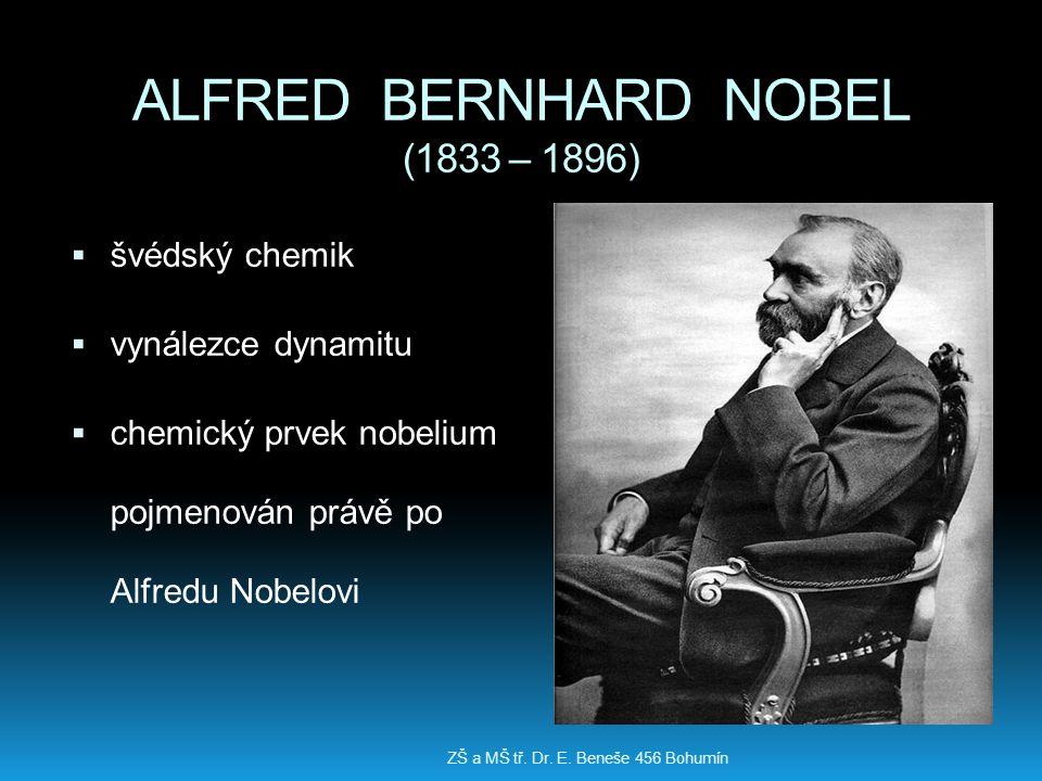 ALFRED BERNHARD NOBEL (1833 – 1896)  švédský chemik  vynálezce dynamitu  chemický prvek nobelium pojmenován právě po Alfredu Nobelovi ZŠ a MŠ tř. D