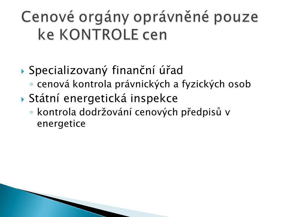  Specializovaný finanční úřad ◦ cenová kontrola právnických a fyzických osob  Státní energetická inspekce ◦ kontrola dodržování cenových předpisů v energetice
