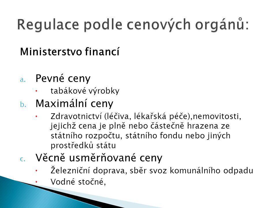 Ministerstvo financí a. Pevné ceny  tabákové výrobky b.