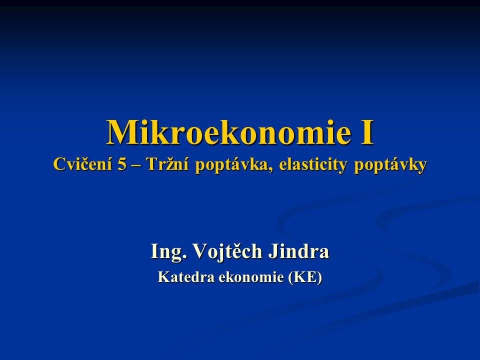 Mikroekonomie I Cvičení 5 – Tržní poptávka, elasticity poptávky Ing. Vojtěch Jindra Katedra ekonomie (KE)