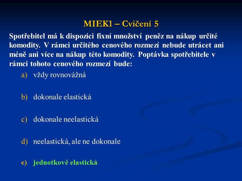 MIEK1 – Cvičení 5 Spotřebitel má k dispozici fixní množství peněz na nákup určité komodity. V rámci určitého cenového rozmezí nebude utrácet ani méně