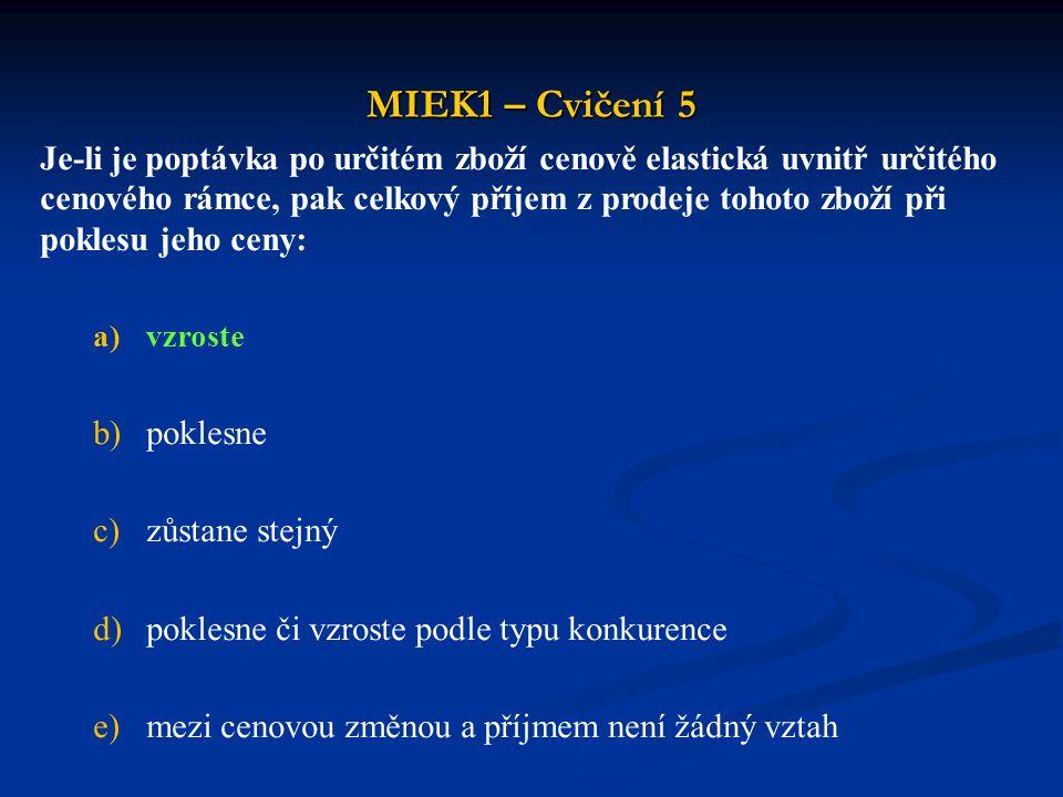 MIEK1 – Cvičení 5 Je-li je poptávka po určitém zboží cenově elastická uvnitř určitého cenového rámce, pak celkový příjem z prodeje tohoto zboží při po