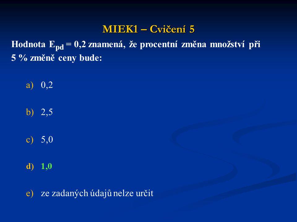 MIEK1 – Cvičení 5 Hodnota E pd = 0,2 znamená, že procentní změna množství při 5 % změně ceny bude: a)0,2 b)2,5 c)5,0 d)1,0 e)ze zadaných údajů nelze u