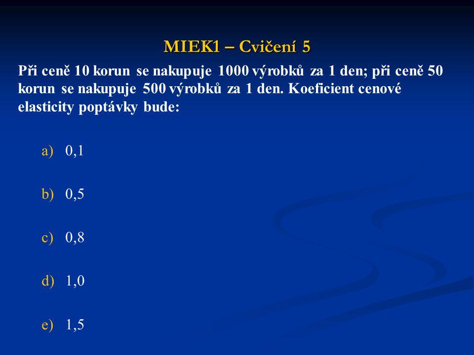 MIEK1 – Cvičení 5 Při ceně 10 korun se nakupuje 1000 výrobků za 1 den; při ceně 50 korun se nakupuje 500 výrobků za 1 den. Koeficient cenové elasticit