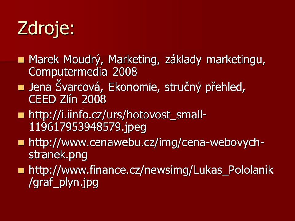 Zdroje: Marek Moudrý, Marketing, základy marketingu, Computermedia 2008 Marek Moudrý, Marketing, základy marketingu, Computermedia 2008 Jena Švarcová, Ekonomie, stručný přehled, CEED Zlín 2008 Jena Švarcová, Ekonomie, stručný přehled, CEED Zlín 2008 http://i.iinfo.cz/urs/hotovost_small- 119617953948579.jpeg http://i.iinfo.cz/urs/hotovost_small- 119617953948579.jpeg http://www.cenawebu.cz/img/cena-webovych- stranek.png http://www.cenawebu.cz/img/cena-webovych- stranek.png http://www.finance.cz/newsimg/Lukas_Pololanik /graf_plyn.jpg http://www.finance.cz/newsimg/Lukas_Pololanik /graf_plyn.jpg