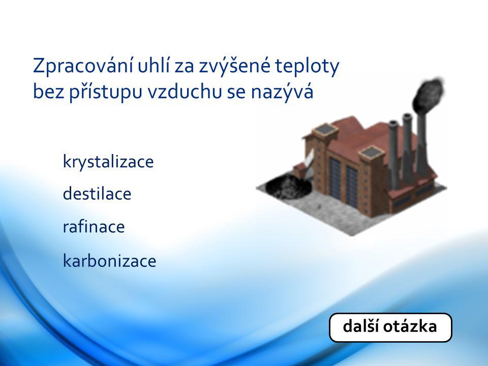Zpracování uhlí za zvýšené teploty bez přístupu vzduchu se nazývá krystalizace destilace rafinace karbonizace další otázka