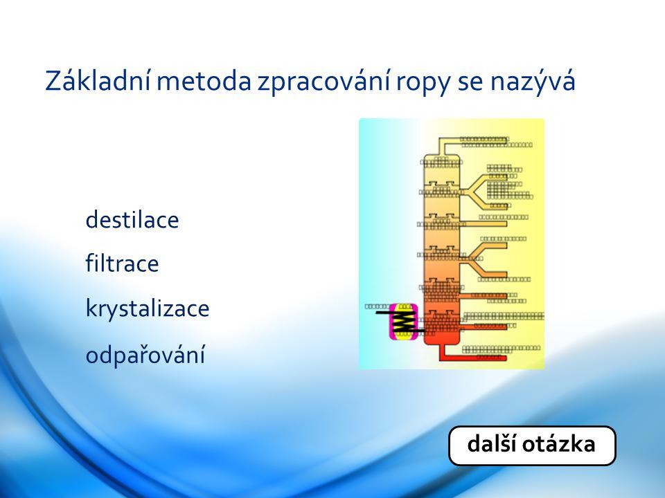 Základní metoda zpracování ropy se nazývá destilace filtrace krystalizace odpařování další otázka