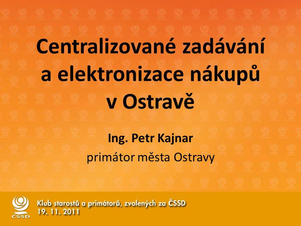 Centralizované zadávání a elektronizace nákupů v Ostravě Ing. Petr Kajnar primátor města Ostravy