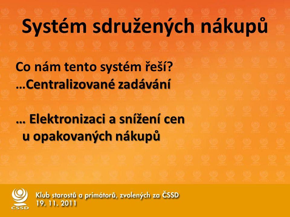 Co nám tento systém řeší? Centralizované zadávání …Centralizované zadávání … Elektronizaci a snížení cen u opakovaných nákupů u opakovaných nákupů