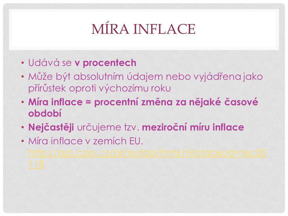 MÍRA INFLACE Udává se v procentech Může být absolutním údajem nebo vyjádřena jako přírůstek oproti výchozímu roku Míra inflace = procentní změna za nějaké časové období Nejčastěji určujeme tzv.