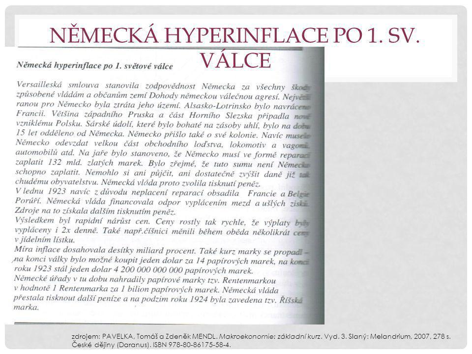 NĚMECKÁ HYPERINFLACE PO 1. SV. VÁLCE zdrojem: PAVELKA, Tomáš a Zdeněk MENDL.