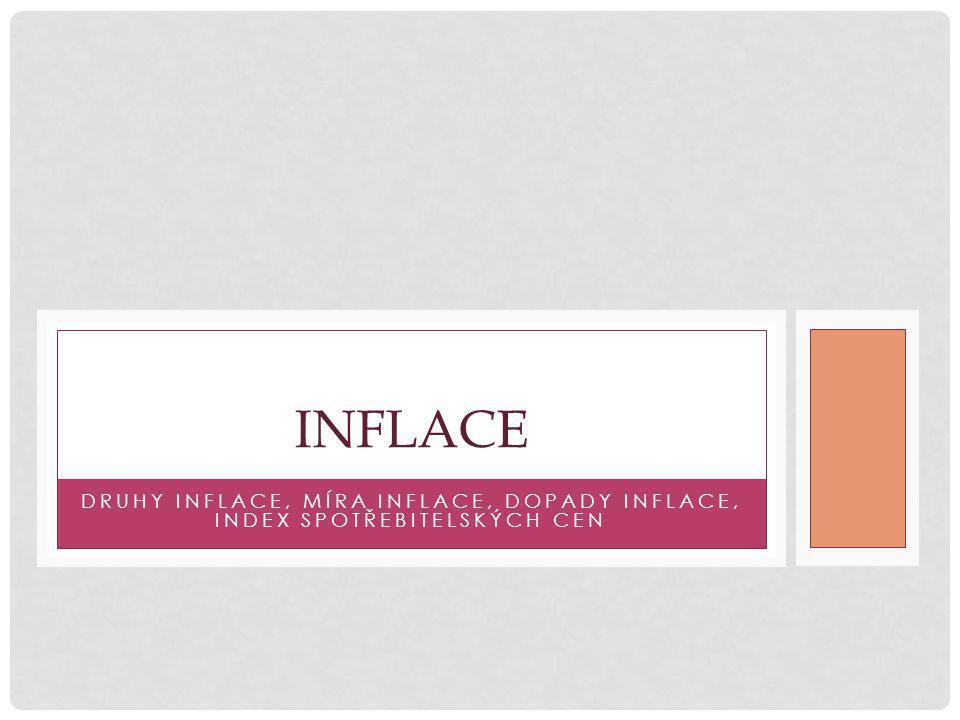 DRUHY INFLACE, MÍRA INFLACE, DOPADY INFLACE, INDEX SPOTŘEBITELSKÝCH CEN INFLACE