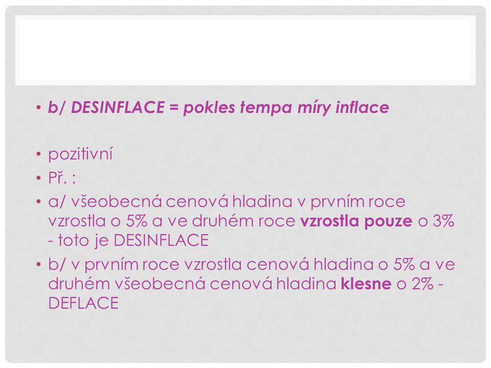 b/ DESINFLACE = pokles tempa míry inflace pozitivní Př.